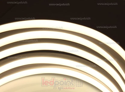 Immagine di Led Neon Flex 17mm bianco caldo 3000K 3528 24V 9W 120led/m IP67 10m, cavi alimentazione laterale