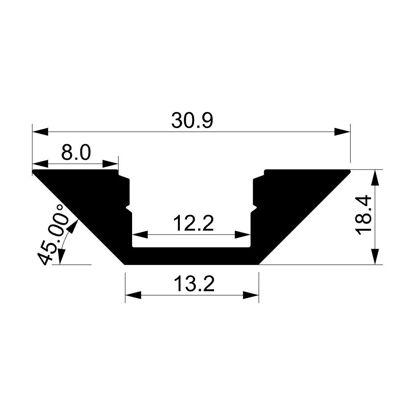 Immagine di Profilo in alluminio angolare con diffusore, 2 metri