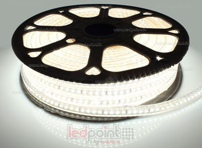 Picture of LED strip 30m neutral white 4000-4250K 2835 120led/m 230V 15W/m, white PCB IP65 Honglitronic