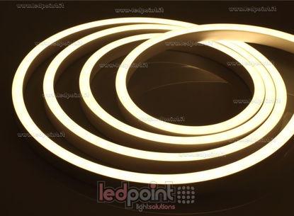 Immagine di Led Neon Flex 11mm bianco caldo 3000K 5050 24V 12W 60led/m IP67 10m, cavi alimentazione in basso