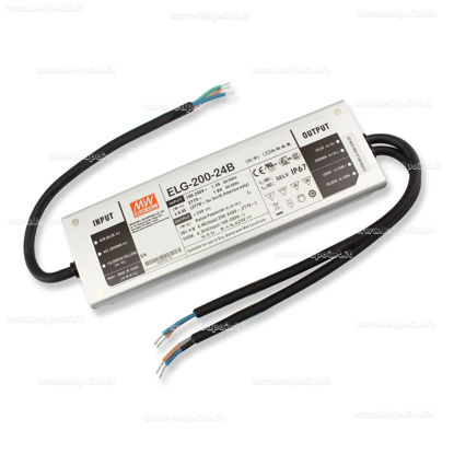 Picture of Mean Well power supply, 24V, 200W, dimming function (0~10Vdc, PWM or resistance), IP67 (ELG-200-24B-3Y)