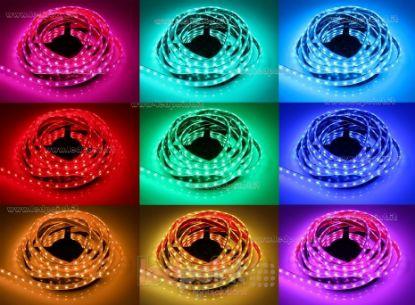 Immagine di Striscia led 5m RGB 5050 60led/m Honglitronic 12V 14,4W/m, IP64 tubo di silicone estruso bordi pieni interno vuoto