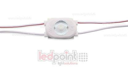 Immagine di Modulo led 2835, 0,5W 12V, bianco freddo 6000-6500K, contenitore PVC, IP65 con lente 165°
