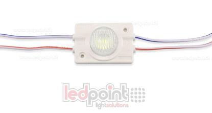 Immagine di Modulo led 3030, 1,2W 12V, bianco freddo 7000-8000K, IP65 con lente 13°*42°