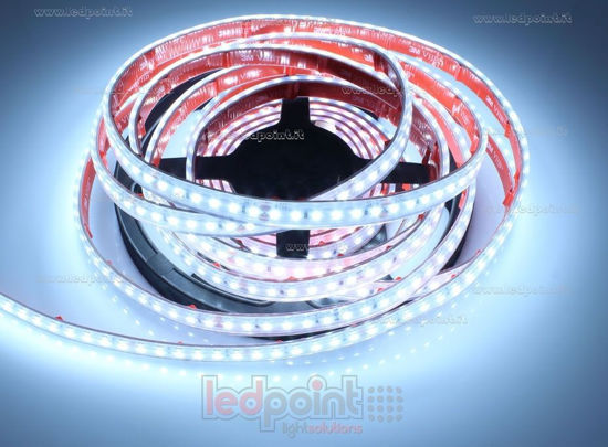 Immagine di Striscia led 5m bianco freddo 6500K 3step 2835 120led/m 24V 14,4W/m, IP64 tubo di silicone estruso bordi pieni interno vuoto