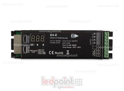 Immagine di DMX 512 & RDM decoder, 4 canali da 8A l'uno, tensione 12-36V DC, porta RJ45