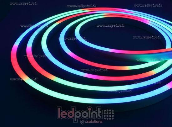 Led Neon Flex 11mm RGB DMX 5050 24V 12W 56led/m IP67 10m, lateral
